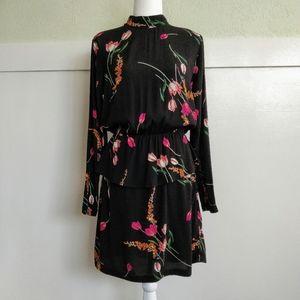 H&M Black and Pink Floral Peplum Long Sleeve Dress